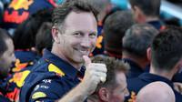 Christian Horner se raduje z vítězství Daniela Ricciarda po závodě v Baku