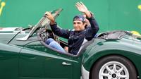 Carlos Sainz při prezentaci před závodem v Silverstone