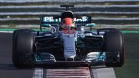 George Russell testuje druhý den vůz Mercedes F1 W08 EQ Power+ v Maďarsku