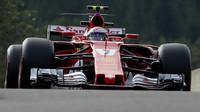 Kimi Räikkönen při tréninku v Belgii