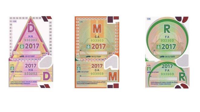 Dálniční známky pro rok 2017