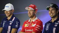 Esteban Ocon, Sebastian Vettel a Sergio Pérez na tiskovce v Itálii