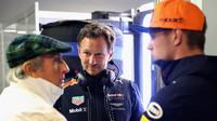 Max Verstappen, Christian Horner a Jackie Stewart v Itálii