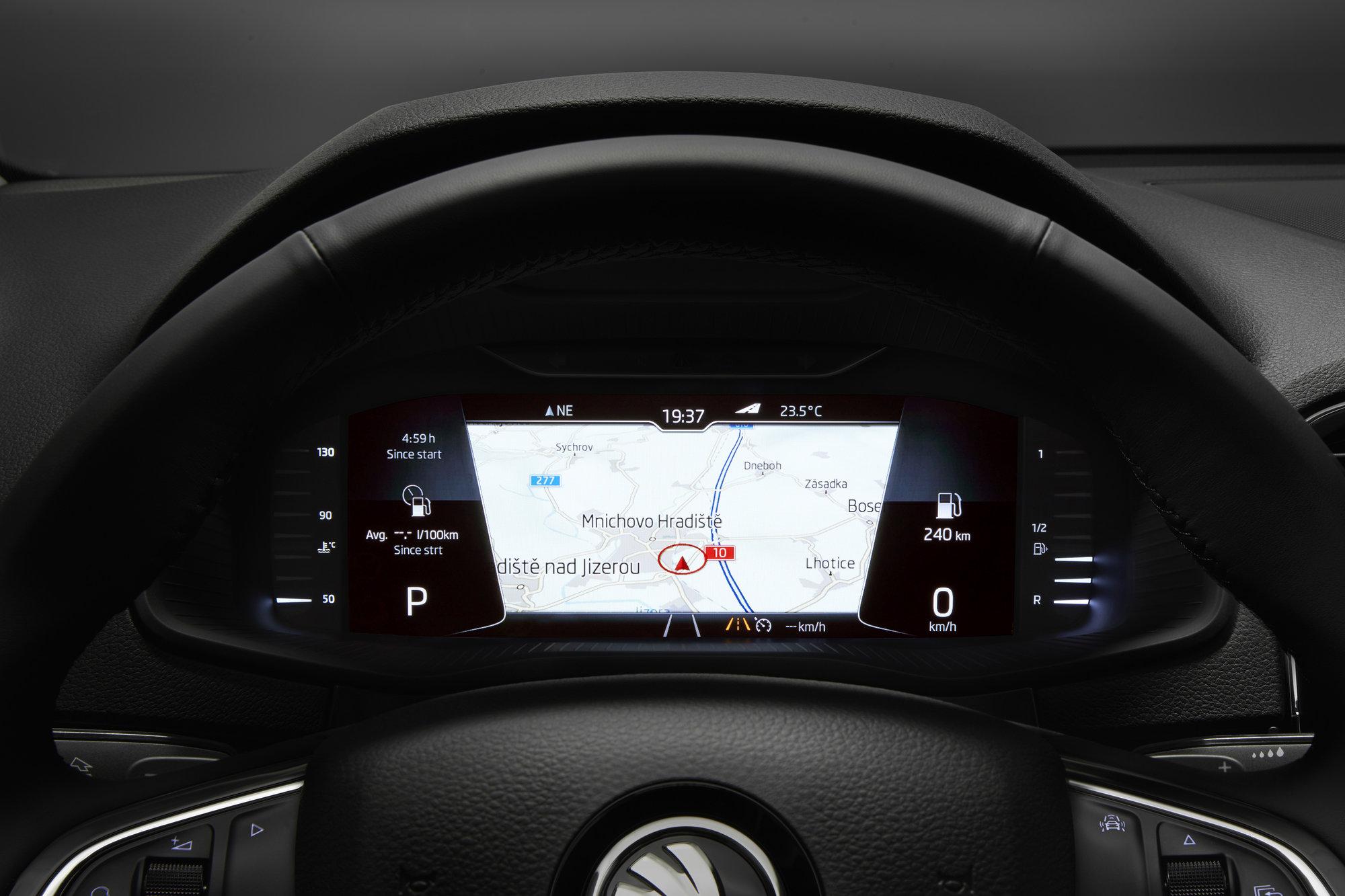 Digitální přístrojový štít vozu Škoda Karoq