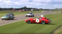Řidič Ferrari 250 GTO/64 Series nezvládl svůj vůz a vypochodoval ze závodní dráhy - následující náraz byl silný a hlavně pořádně drahý