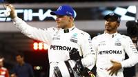 Valtteri Bottas a Lewis Hamilton po kvalifikaci v Abú Zabí