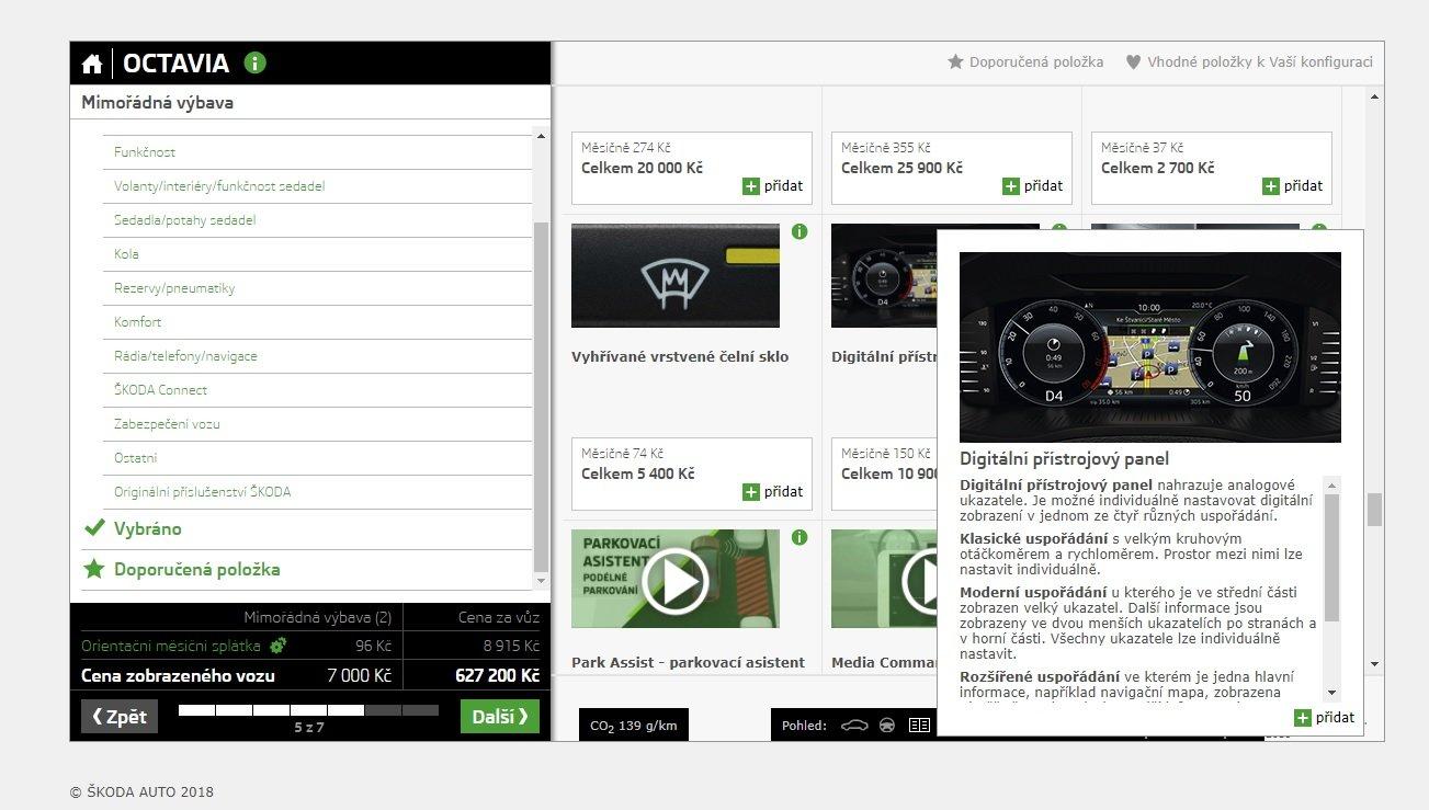 Škoda přidala do mimořádné výbavy Octavie i digitální přístrojový panel