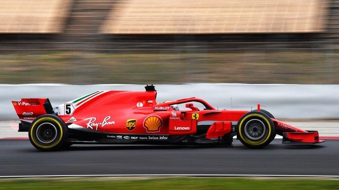Sebastian Vettel s Ferrari SF71H ve Španělsku