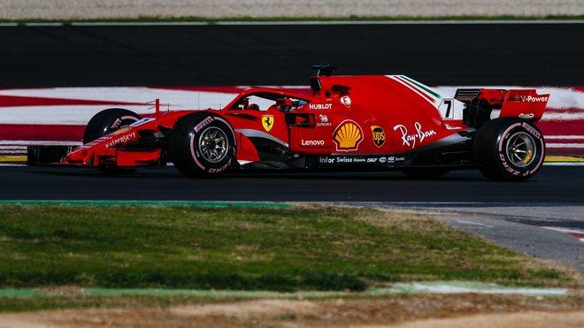 Kimi Räikkönens Ferrari SF71H v Barceloně
