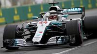 Lewis Hamilton v kvalifikaci v Melbourne v Austrálii