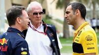 Helmut Marko (uprostřed) s Christianem Hornerem (vlevo) a šéfem Renaultu Cyrilem Abiteboulem