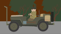 Upravený Jeep Willys snadno prorážel německé nástrahy