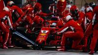 Sebastian Vettel při své zastávce, která byla v Bahrajnu ze všech nejrychlejší