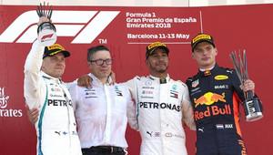 Nejlepší jezdci na pódiu po závodě ve Španělsku
