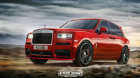Rolls-Royce Cullinan v úpravách X-Tomi Design: Sport. Úprava se zatmavenými skly, upraveným body-kitem, sníženou světlou výškou a většími disky kol