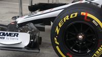 Detail předního křídla vozu Sauber v Rakousku