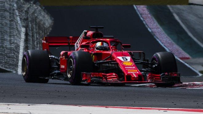 Sebastian Vettel v tréninku na Velkou cenu Maďarska 2018