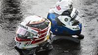Přilby jezdců Mercedes po kvalifikaci v Maďarsku