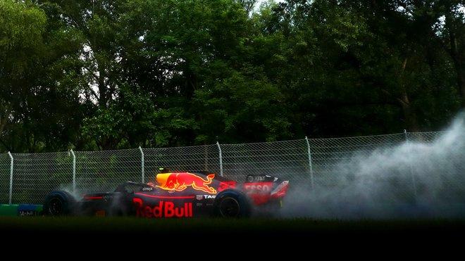 Max Verstappen během kvalifikace v Maďarsku