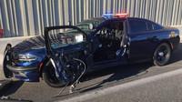 Policista měl obrovské štěstí, že z nehody vyvázl bez zranění