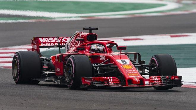 Sebastian Vettel s Ferrari SF71H v Mexiku