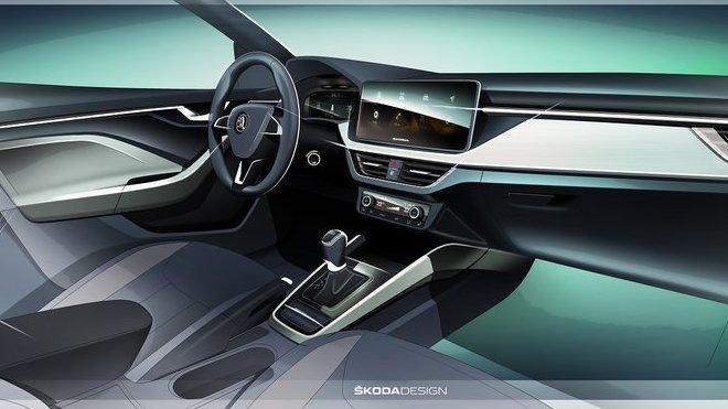 Ve voze Škoda Scala bude mít premiéru nový koncept interiéru, pro který je charakteristická nová přístrojová deska a vysoko umístěný centrální displej