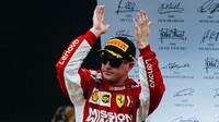 Kimi Räikkönen na pódiu po závodě v Brazílii