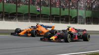 Daniel Ricciardo a Fernando Alonso v závodě v Brazílii