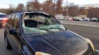 Následky děsivé nehody, během které proletěl jelen čelním sklem Toyoty RAV4 (Facebook/Howell Township Police Department)