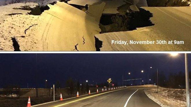 Na Aljašce předvedli neuvěřitelně rychlou opravu zemětřesením poškozených komunikací (facebook/ Alaska Tour & Travel)