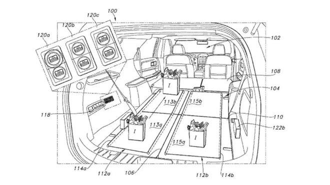 Ford si zaregistroval patent pro přepravu nákupů v kufru pomocí elektrických dopravních pásů, jaké známe z obchodů