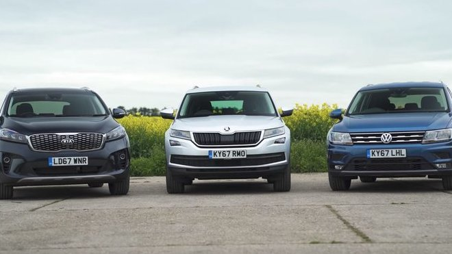 Ve srovnávacím testu se utkala Škoda Kodiaq s Kiou Sorento a VW Tiguan Allspace