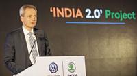 Christian Strube, člen představenstva společnosti ŠKODA AUTO za oblast technického vývoje při slavnostním ceremoniálu k otevření Technologického centra v Pune v Indii.