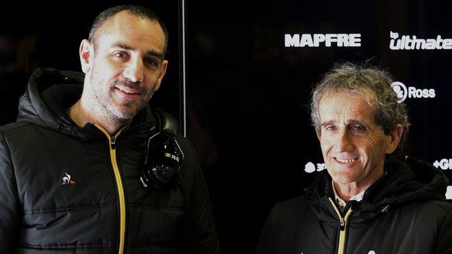 Cyril Abiteboul a Alain Prost při testech v Barceloně