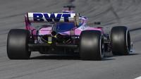 Lance Stroll ve voze Racing Point RP19 při čtvrtém dnu testů v Barceloně