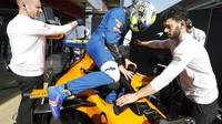 Lando Norris v rámci třetího dne druhých předsezonních testů v Barceloně