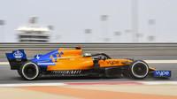 Lando Norris při testování McLarenu MCL34 po závodním víkendu v Bahrajnu