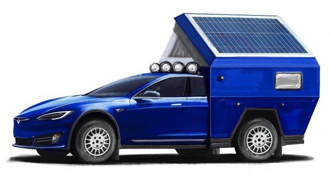 Možná podoba první obytné Tesly Model S s označením Tesla Roamer (Facebook/ @TravisTravelsOrg)