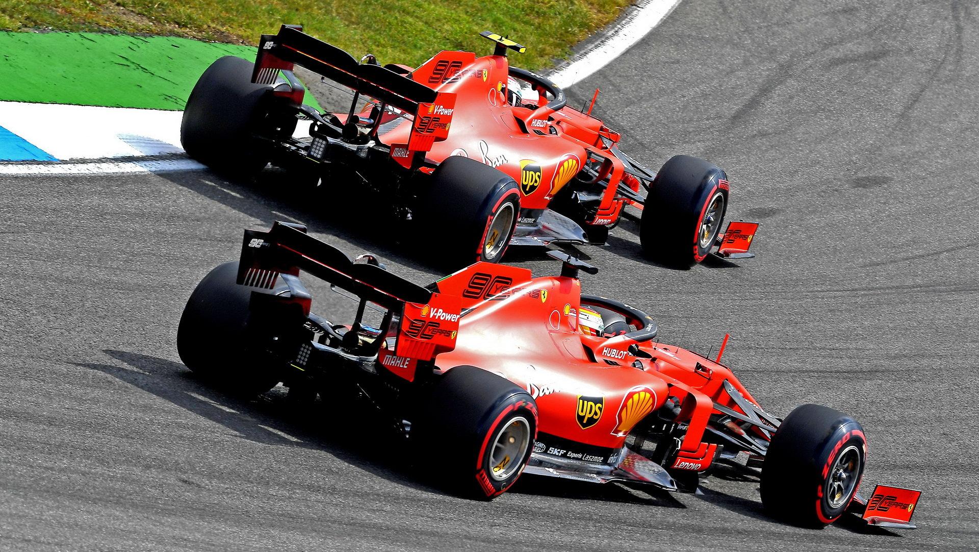 Charles Leclerc a Sebastian Vettel v kvalifikaci v Německu