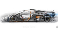Skica vozu T50 - duchovního nástupce legendárního McLarenu F1