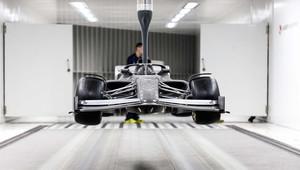 Koncept monopostu pro rok 2021 v aerodynamickém tunelu Alfy Romeo v Hinwilu