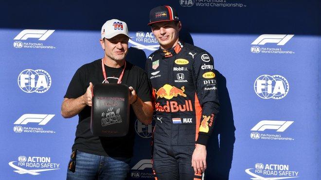 Max Verstappen a Rubens Barrichello po kvalifikaci v Brazílii