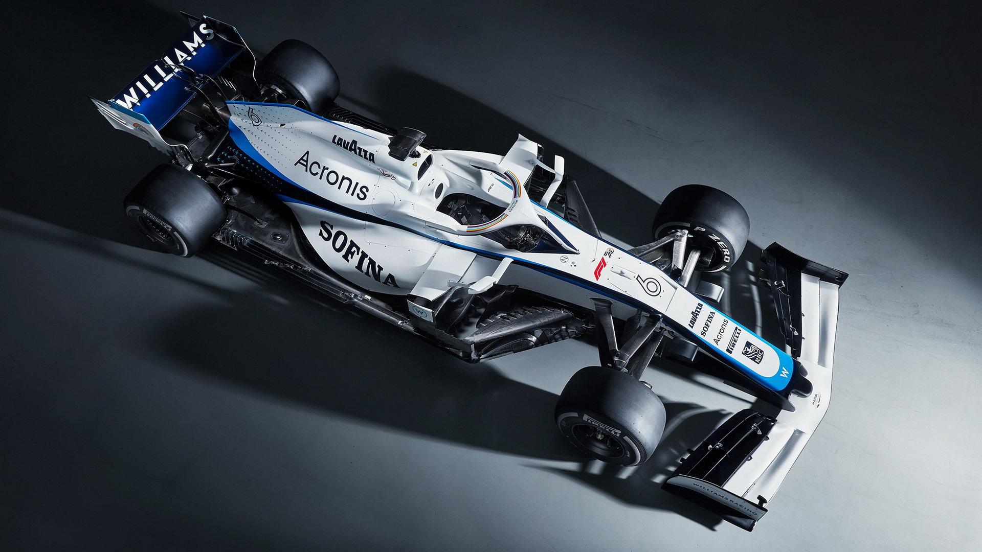 Williams FW43 v novém zbarvení bez hlavního sponzora - společnosti ROKiT