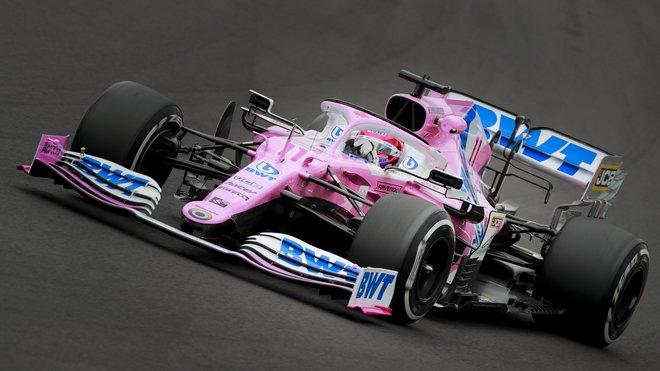 Sergio Pérez s Racing Pointem RP20 na Hungaroringu