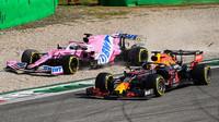 Sergio Pérez a Max Verstappen po kontaktu v závodě na Monze