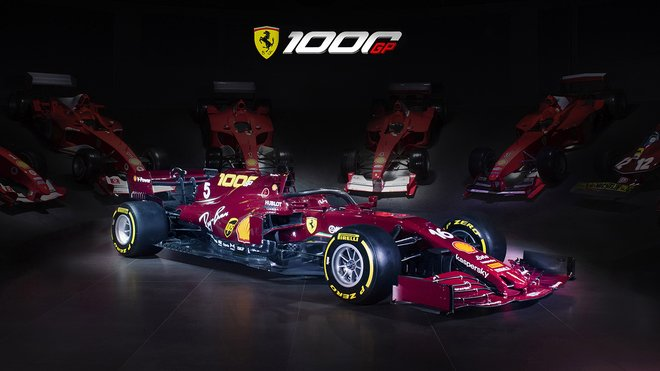 Speciální zbarvení Ferrari pro svůj 1000. závod ve Formuli 1, pro GP Toskánska