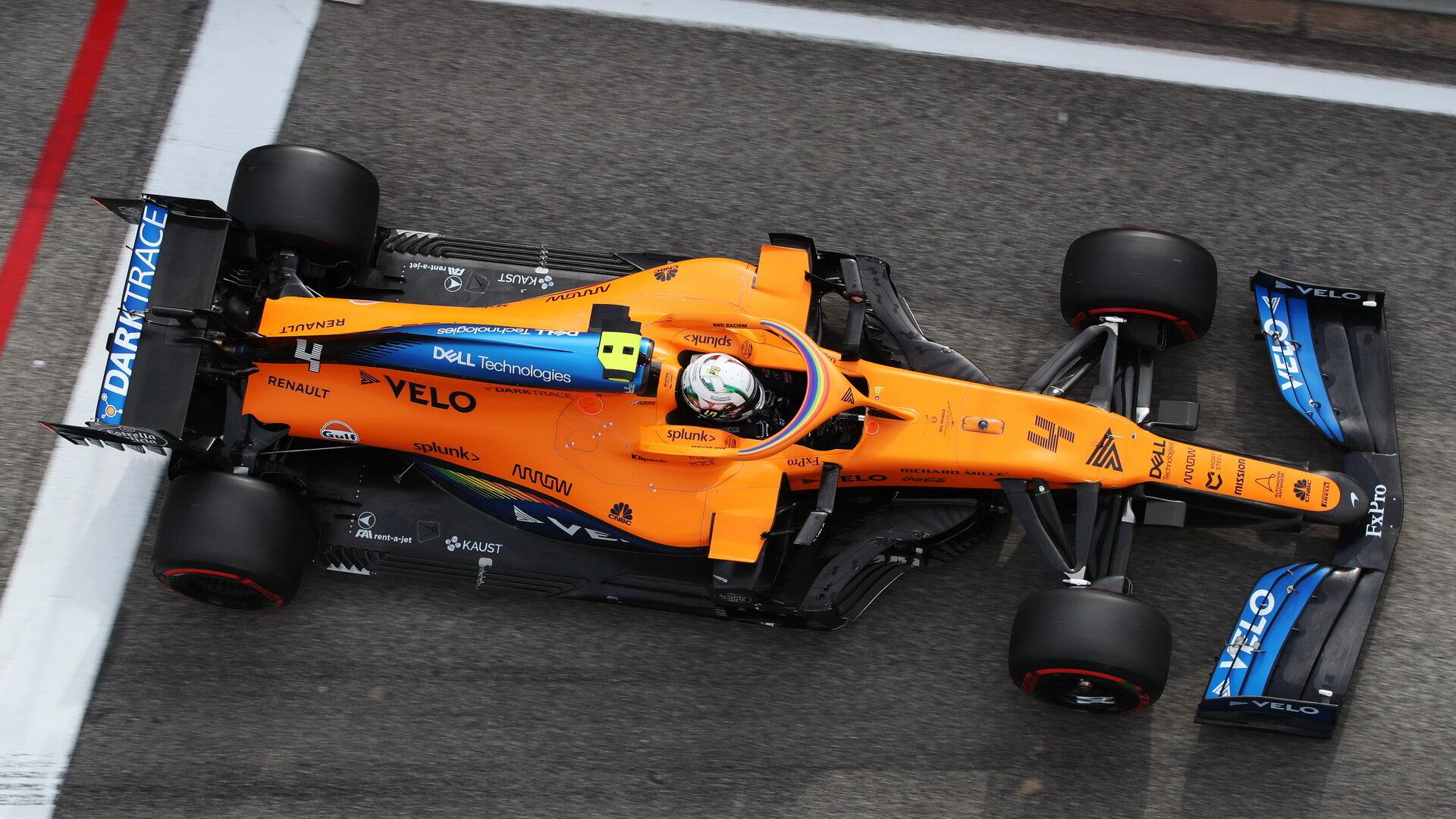 Lando Norris s McLarenem MCL35 v Imole