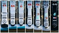 Nosy posledních sedmi mistrovských vozů Mercedesu (2014 - 2020)