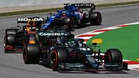Lance Stroll, Max Verstappen a Fernando Alonso - kvalifikace v Barceloně