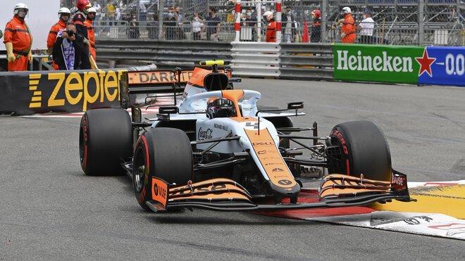 Lando Norris během kvalifikace v Monaku